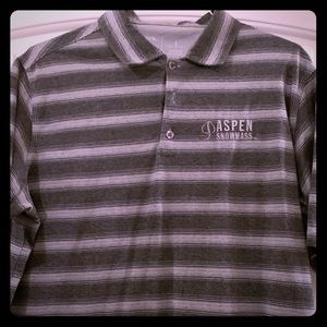Antigua Grey Striped Aspen Snow Mass Golf Polo